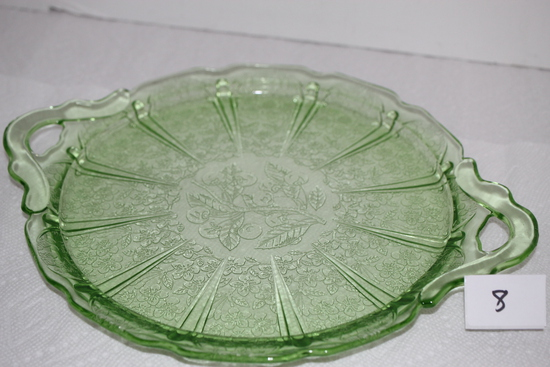 "Green Depression Glass Platter Plate, Cherry Blossoms, Handles, Jeanette, 12 3/8"" W incl. handles"