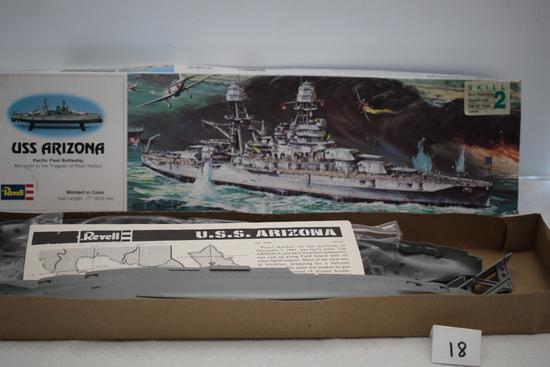 """USS Arizona Battleship Plastic Model Kit, 1975, Revell Inc., H-302, Made In USA, Hull Length 17"""""""