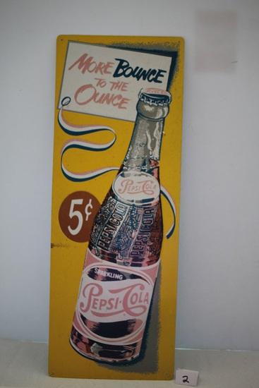 "Pepsi Cola Metal Sign, 25"" x 9 1/4"""