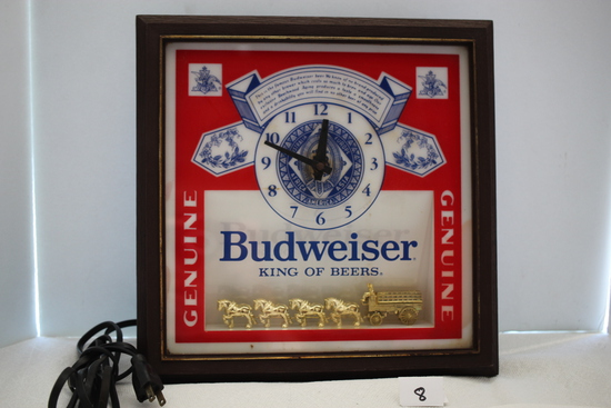 """Budweiser Deluxe Label Sign, Plastic, 13 1/2"""" x 13 1/2"""", Not Tested, May need cord replaced"""