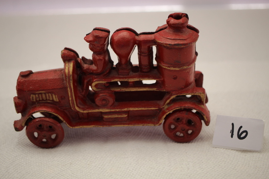 "Cast Iron Fire Truck, 6 1/2""L x 4 1/4""H, Pieces loose"