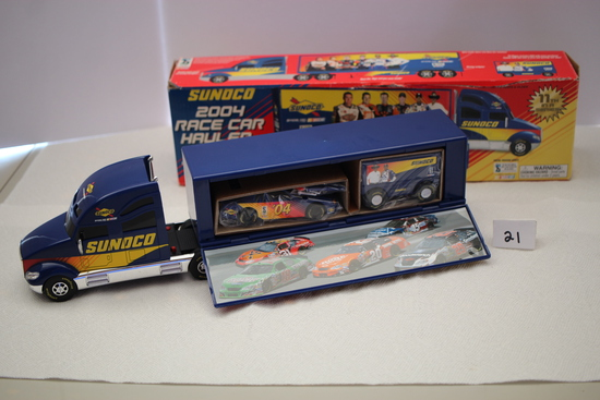 "Sunoco 2004 Race Car Hauler, Car, Pit Wagon, Battery Operated, Plastic, 17""L x 4""H x 2 1/2""W"