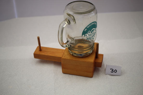 "Bubble Gum Dispenser, Wood, Glass, Chocolate City USA On Glass, 7 1/2""H"