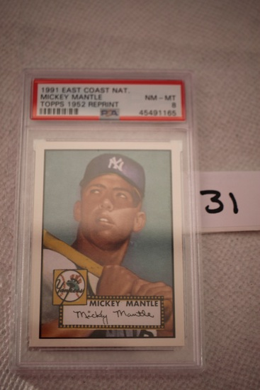Mickey Mantle, Topps 1952 Reprint Card, 1991 East Coast National, PSA Grade 8, NM-MT
