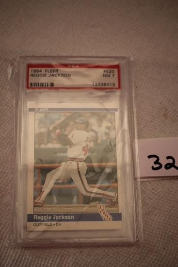 Reggie Jackson, 1984 Fleer Card, #520, PSA Grade 7, NM