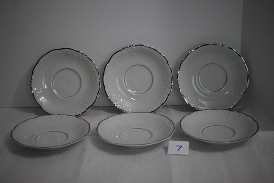 "6 Wawel China Saucers, Made In Poland, Each 5 3/4"" round"