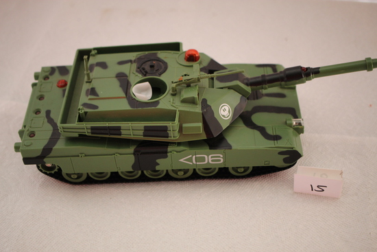 "Toy Tank, Inter Active Toy Concepts, 2001, Plastic, Uses 4 AA Batteries, 13"" x 4 1/2"" x 3 1/4""H"