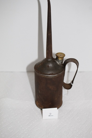 """Vintage Oil Can, Metal, 1950's, Handmade?, 11 3/4"""""""