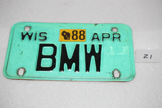 "Wisconsin Motorcycle Plate, BMW, April, 8"" x 4 1/2"""
