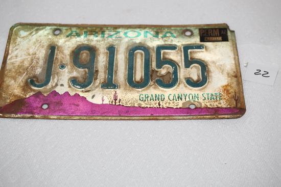 """Arizona License Plate, J91055, Grand Canyon State, Perm AZ , 12"""" x 6"""""""