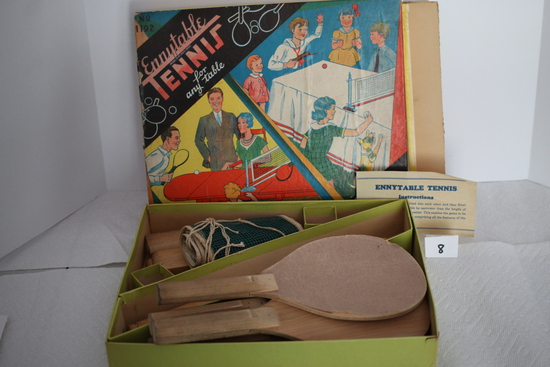 Vintage Ennytable Tennis For Any Table, #1192, Pressman's Popular Playthings, Toys & Novelties