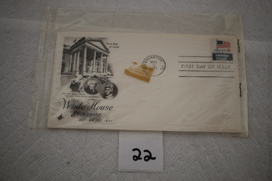 "White House 8 cent Stamp, First Day of Issue, 1971, Envelope 6 1/2"" x 3 1/2"""