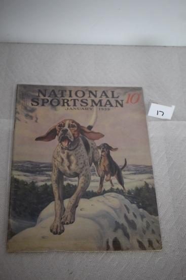 Vintage National Sportsman Magazine, January 1939, Torn on bottom