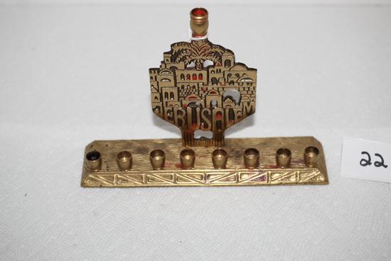 "Oppenheim Jerusalem Menorah, Brass?, 4 1/2""H x 6 3/4""L"