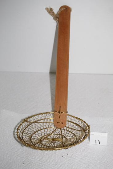 """Skimmer With Wood Handle, 6"""" round Skimmer, 14""""L"""