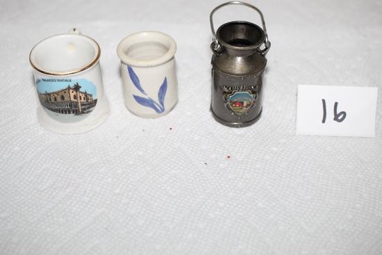 "Toothpick Holders, Wisconsin, Venezia-Palazzo Ducale, Pottery-Williamsburg?, 1 1/2"" - 2"""