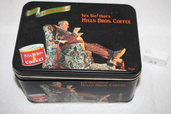 "Hills Bros. Coffee Tin, 1998 Holiday Edition, 7"" x 5"" x 4"""