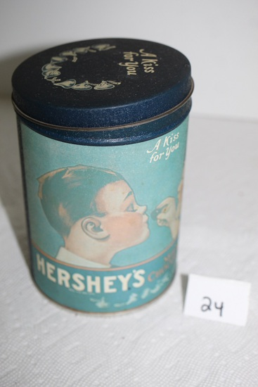 """Hersey's Milk Chocolate Kisses Tin, 1980, Hershey Foods Corp., 6"""" x 4"""" round"""