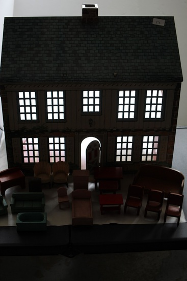 Vintage Tin Doll House With Light, Wooden Furniture