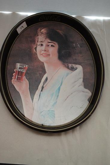 """Coca Cola Tray, Metal, Oval, 15""""L x 12 1/2""""W"""
