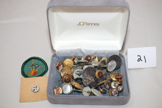 """Assorted Vintage Buttons, Pins, Patch, Box = 4"""" x 3 1/4"""" x 1 1/4""""H"""