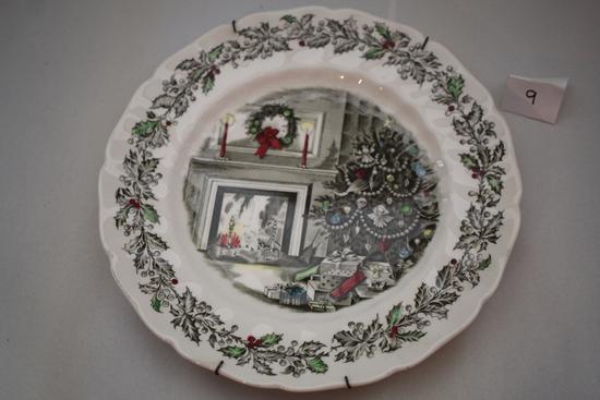 "Johnson Bros. Merry Christmas Plate, England, 10 1/2"" round"