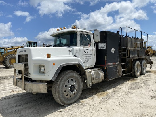 2002 MACK RB688S LUBE TRUCK, VIN: 1M2AM08C22M006266, 240,845 ODOMETER MILES, 22,167 HOURS SHOWING,