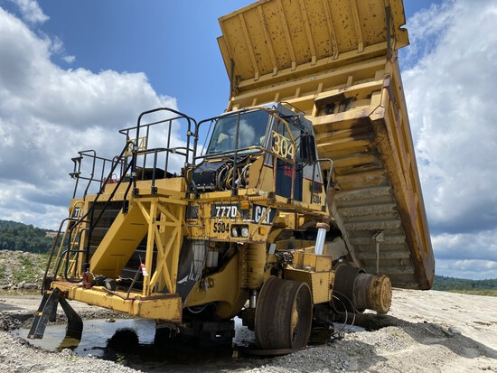 CATERPILLAR 777D OFF-ROAD DUMP TRUCK, CAT DIESEL ENGINE, 7-SPEED WITH REVERSE, HYDRAULIC DUMP BOX,