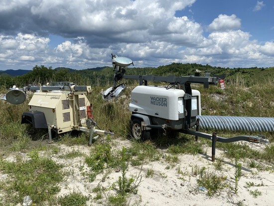 (2) TOWABLE LIGHT TOWERS FOR PARTS/REPAIR, WACKER NEUSON LTN 6, 18,833 HOURS SHOWING, 3-CYLINDER