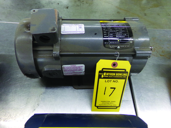 BALDOR 1/2-HP DC ELECTRIC MOTOR, ARM VOLTS 180, FIELD VOLTS 200/100, S/N W0705161010
