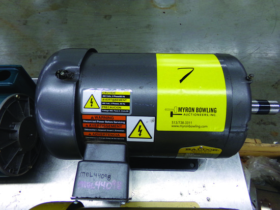 BALDOR 5-HP ELECTRIC MOTOR, 230/460 V., 3-PHASE, CAT #M3613T, S/N F0303031513