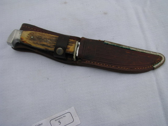 "Case knife 5"" fixed blade and leather sheath"