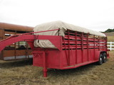 20' Canvas Top Red Stock Trailer Goose Neck Tandem Axle