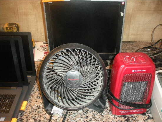 Computer Monitor  Heater and Fan