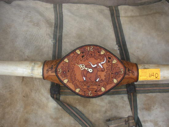 Leather Tooled Mounted Longhorn Steer Horns 68-3/4""