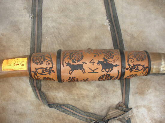 Leather Tooled Mounted Longhorn Steer Horns 81""