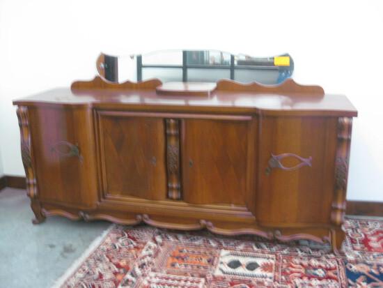 """Oak Buffett 7'-3"""" Four Door with Bevel Glass Mirror"""