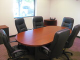 8' Conference Mahogany Style  Table with 6 Chairs Corner Cabinet and 2 Door Cabinet
