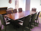 10' Mahogany Style Conference Table with 8 Roller Chairs (2) Side Chairs and 1 Book Case