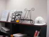 Lot Metal Art and Bear Sign and Hard Hat