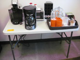 Folding Table with Coffee Makers Toaster Oven and coffee Supplies