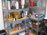 2 Gray Metal shelving and Contents