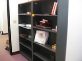2 Book Cases Gray and Mahogany Style