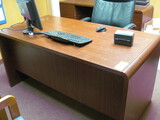 Mahogany Style Double Pedestal Desk, 2 Drawer Lateral File