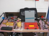 Table misc. Tools computer case squares Mics and metal table and Desk