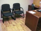 L-Shape Desk 2 Guest Chairs Book Case Metal Lat File Book Case