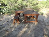 Custom Made Shooting Bench and Metal Target with Patio Table and All the Brass you can pickup