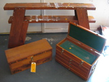 Ducks Unlimited Box wooden Tool Box and Saw horses