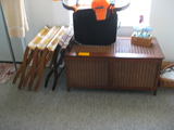 Wicker Side Tables and Bow Target with Bow Lugage Stands