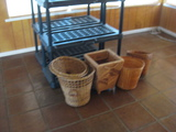 (2) Black Plastic Shelving Units and Contents